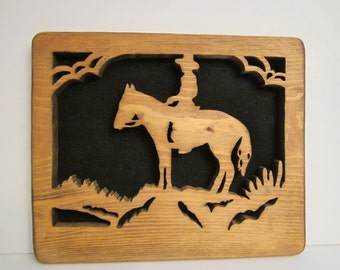 Wood Cut Horse and Cowboy Silhouette Shadow Art