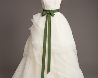 "Pine Green Wedding Sash - 1.5"" - Romantic Luxe Grosgrain Ribbon Sash - Wedding Belt, Bridal Sash, Bridal Belt - Wedding Dress Sash"