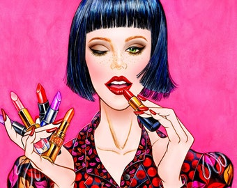 Midnight Kisses - Watercolor Fashion illustration