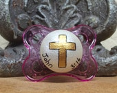 John 3:16 Cross Custom Hand Painted Pacifier by PiquantDesigns