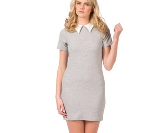 Soft Heather Grey Cotton Spandex Tshirt Dress with White Faux Leather Peter Pan Collar