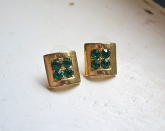 1980s Gold and Green Post Earrings