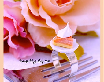 Pumpkin Pie Ring, Miniature Food Ring, Pumpkin Pie With Whpped Cream On a Plate Adjustable Ring, handmade By: Tranquilityy