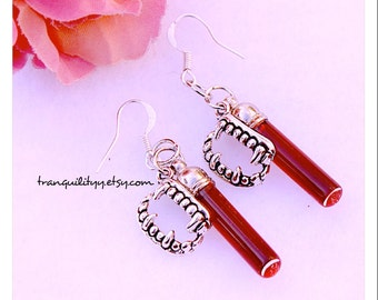 Vampire Blood Earrings,  Realistic Blood Glass .5mm vial, Teeth Charm ,925 Sterling Sliver Hooks , Goth , By: Tranquilityy