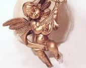 Vintage 3 Goldtone Cherub Holiday/Christmas Ornaments