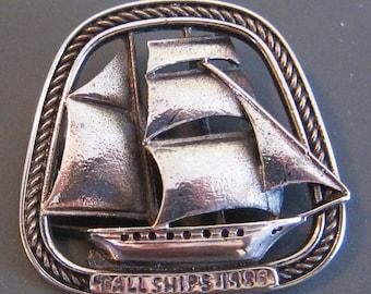 Sterling Silver Tall Ships Sailing Pin Brooch 1988
