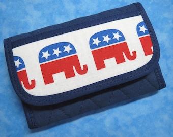 Women Wallet - Small Wallet Credit Card Wallet Republican Elephant Credit Card Holder Fabric Wallet Vegan Wallet Ladies Wallet Mini Wallet