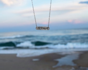 I'm Really a Mermaid Necklace   Sterling Silver Necklace   Stamped Necklace   Mermaid Jewelry   Layering Necklace