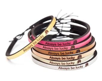 Always Be Lucky Leather Cuff Bracelet - the Lucky Elephant Original