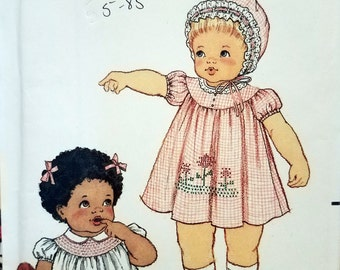 Vintage Butterick 3948 late 1970's Smocked baby dress pattern  UNCUT