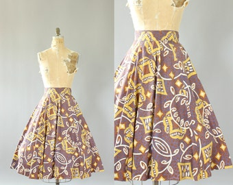 Vintage 50s Skirt/ 1950s Cotton Skirt/ Blue, Brown, Yellow Tiki Print Cotton Circle Skirt S