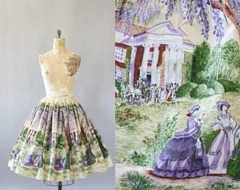 Vintage 50s Skirt/ 1950s Cotton Skirt/ Novelty Print Cotton Skirt Southern Town Debutante Women Scene M
