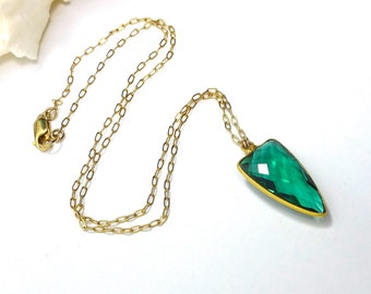 Emerald Quartz Necklace, Pendant Necklace, Emerald Green, Gold Filled Chain