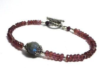 Garnet and Labradorite Bracelet, Blue Flash Labradorite, Bali Sterling Silver, Beaded Gemstone Bracelet