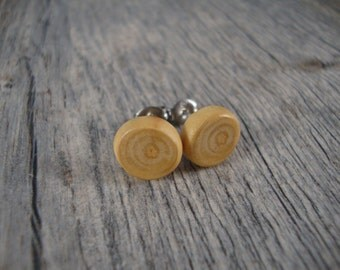 Tree Branch Stud Earrings - Natural Apple Wood Post Earrings - Small / light color