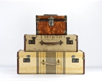 Vintage Suitcases, Suitcase Stack Of Three, Suitcase, Luggage, Old Luggage, Tweed Suitcase, Stack Of Suitcases, Striped Suitcase