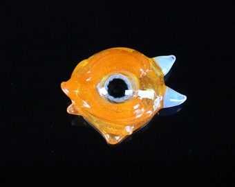Tangello Glass Eye Monster Pendant Necklace Hand Blown here in the Pacific Northwest