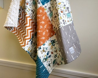 Robot Car Seat Quilt - Small Baby Quilt - Baby Shower Gift, Teal, Grey,  Orange, Yellow, Cream, Baby Blanket, Space, Bots, Robot