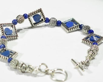 Bracelet - Silvertone Metal Accent Beads - Round Lapis accent beads - Square Metal beads  Lapis Hearts in each