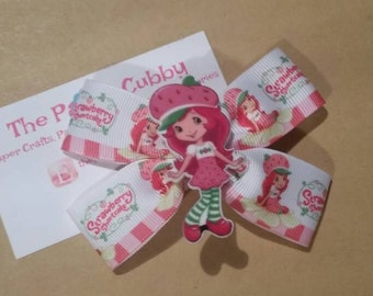 Strawberry Shortcake Inspired Hair Bow - Ready to Ship