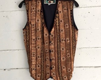 Sequin Vest, heavily sequined bronze copper button front blouse,90s  top, bohemian boho, oversize small s
