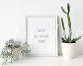 A4 White Frame - (Portrait)  Empty Frame, Stock Photo, Styled Photography, Mock up, prints, illustration, painting