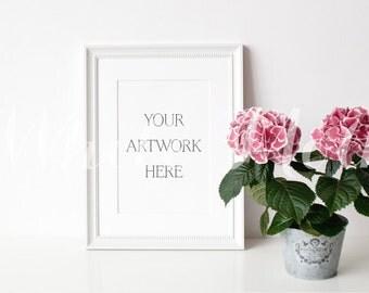 A4 White Frame - (Portrait)  Empty Frame, Stock Photo, Styled Photography, Mock up, prints, illustration, painting