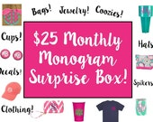 JUNE Monthly Monogram Surprise Box - valued at 42.00 - EVERYTHING monogrammed using embroidery or vinyl