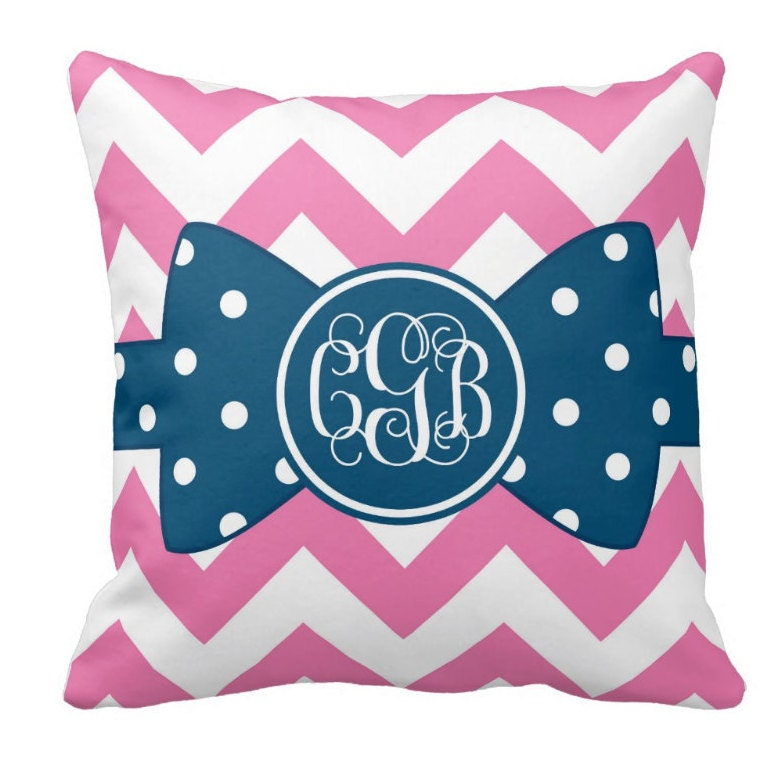 Decorative Pillows With Monogram : Chevron Decorative Throw Pillows Monogram Pillow chevron