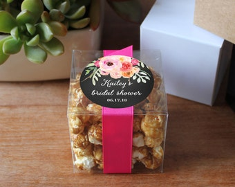 12 - Bridal Shower Favor Box - Personalized Favor Box | Floral Favor Label | Bouquet Label | 3X3 box | square favor box | Bridal Shower