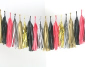 Stripes, Black, Pink and Gold Tassel Garland . Valentines Day Decor, Bachelorette Party Decorations, Girls Room Banner