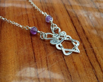 Silver & Amethyst Star of David necklace, Magen david silver pendant-bat mitzvah gift-jewish star sterling silver necklace-Amethyst gemstone