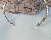 """Sterling Silver and Copper Twisted Wire Bracelet Bangle Handmade """"A"""""""