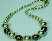 Brown and Beige Pearl Beaded Necklace