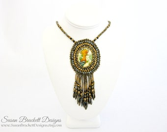Beaded Crested Bird Necklace Bohemian Jewelry Boho Chic Pendant Cocktail Necklaces - CLEARANCE ITEM