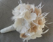 Feather Wedding Bouquet, Bridal Bouquet, Vintage Style Bouquet, Brooch Bouquet, Gatsby Wedding, Alternative Bouquet, YOUR CHOICE COLOR