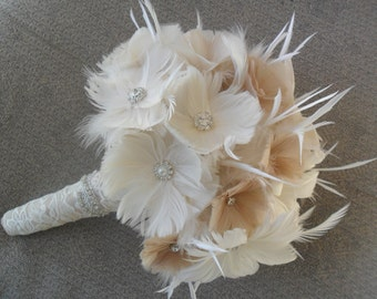 Wedding Bouquet, Bridal Bouquet, Brooch Bouquet, Great Gatsby Wedding,Feather Bouquet, Alternative Bouquet, YOUR CHOICE COLOR