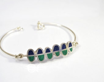Sterling Silver Bracelet, Blue and Green Ferns, Contemporary Jewelry, Modern Bracelet