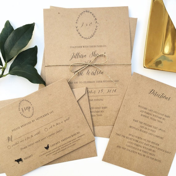 Calligraphy Wreath Wedding Invitation