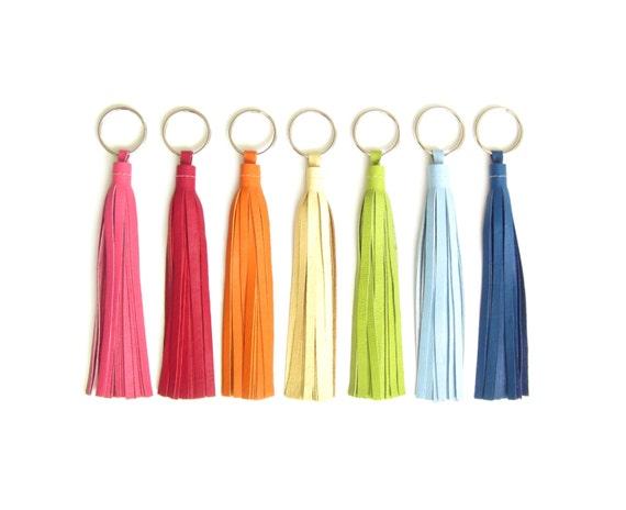 "6"" Leather Tassel Key Chain | Large Leather Tassel Key Ring"