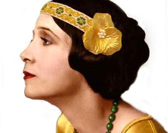 Retro Gold Flower Flapper Headband Pearl Boho Bohemian Hair Accessories Gift for Her 1920s Vintage Gypsy Hippie Folk Woodland Bridesmaid
