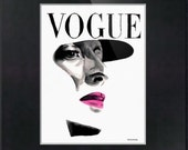 Vintage Vogue Magazine Cover. Fashion Illustration. Print and Black Mat. Frame Ready. 8x10 or 11x14