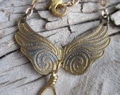 etched brass metal angel wing wings wire wrapped charm necklace jewelry resin bezel inspirational sayings fly mixed media jewelry