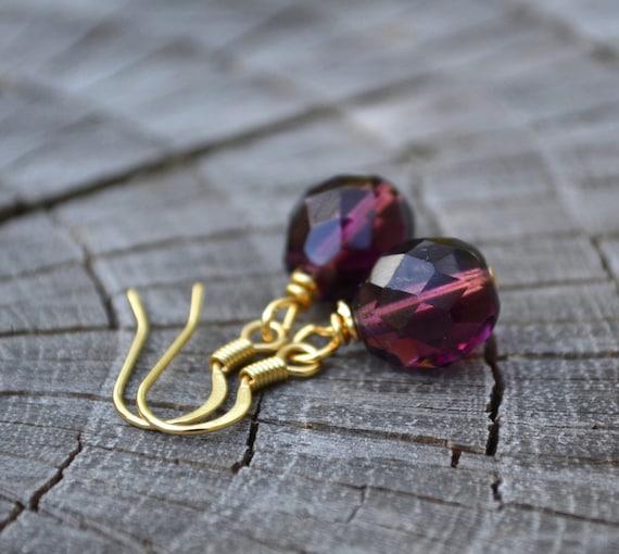 Amethyst Purple Glass Crystals . Earrings