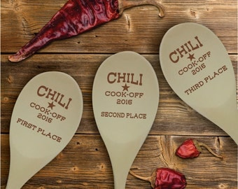 Chili Cook Off Contest Wooden Spoon Prize, Personalized Chili Cook-off Awards SP0205