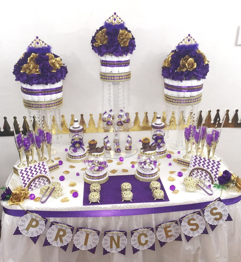 purple and gold princess candy buffet by platinumdiapercakes. Black Bedroom Furniture Sets. Home Design Ideas