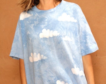 vintage 90s INDIGO washed CLOUD faded blue oversize T-SHIRT top