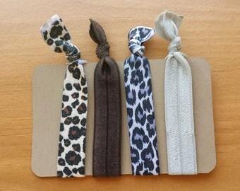 Animal Print Elastic Hair Ties, Cheetah Hair Elastics, Leopard Print Hairbands