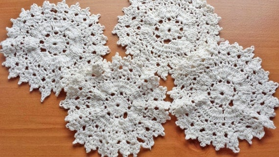 4 Shabby Style Doilies, Set of Vintage Hand Crocheted Doilies, 5.5 to 6 inches, Ecru Color