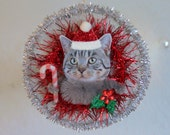 Tabby Cat Vintage Style Christmas Ornament